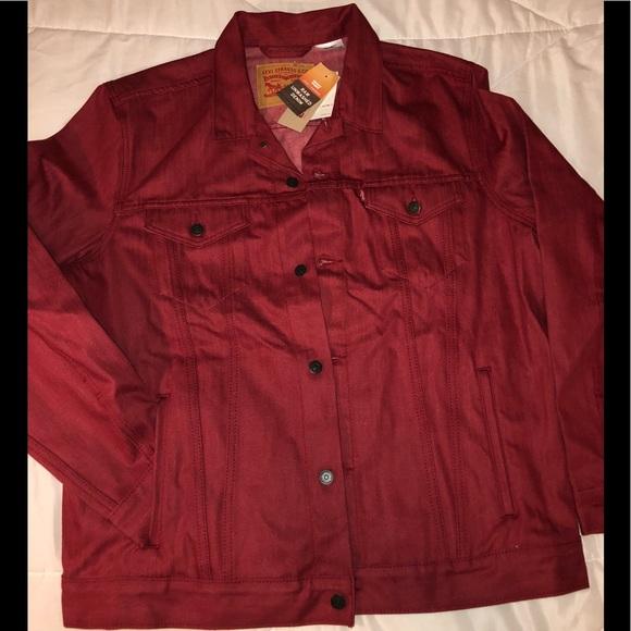 Levi S Jackets Coats Levis Denim Jacket Maroon Red Mens Size Xl